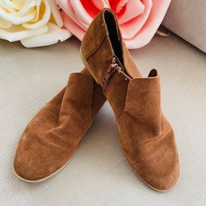 Brown Leather Suede Boho Booties Nine West Size 6
